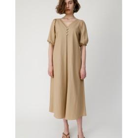 マウジー moussy PUFF SLEEVE LINEN BLEND DRESS (ライトベージュ)