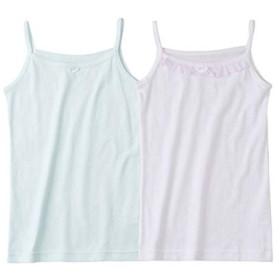 [nissen(ニッセン)] キャミソール 2枚組 女の子 子供服 ジュニア服 キッズ 女の子 白+サックス系 100 セット組