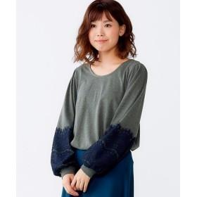袖レーストップス (大きいサイズレディース)Tシャツ・カットソー