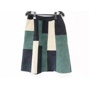 シビラ Sybilla スカート サイズM レディース 美品 黒×グリーン×アイボリー フェイクスエード【中古】20190709