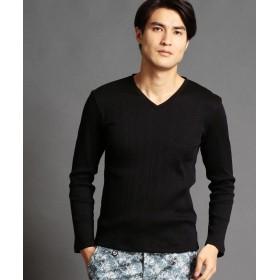 ムッシュニコル VネックテレコTシャツ メンズ 49ブラック 46(M) 【MONSIEUR NICOLE】