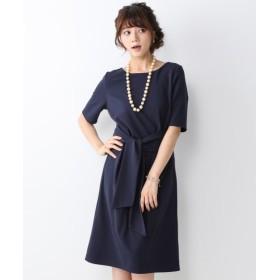 【ジャージーシリーズ】ウエストリボンカットソーワンピース (ワンピース),dress
