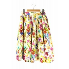 【中古】ダブルスタンダードクロージング ダブスタ DOUBLE STANDARD CLOTHING スカート フレア タック ひざ丈 花柄 36 マルチカラー /RM ▲H レディース