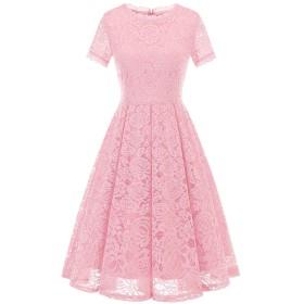 Dresstell(ドレステル) パーティー ドレス 結婚式ワンピース レース 膝丈 半袖 Aライン 通勤 お呼ばれ 発表会 二次会 レディース ピンク Mサイズ