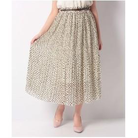 Lilou de chouchou ダルメシアン柄ベルト付プリーツロングスカート(オフホワイト)