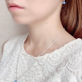 【simple series】スワロフスキービーズピアス×ネックレス(ミディアムサファイヤ)
