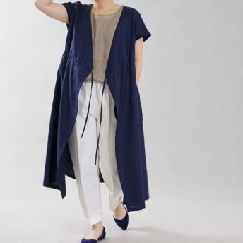 【wafu】薄地 リネン カシュクール ワンピース 2wey 織 ロング / オリエンタルブルー a005a-obn1