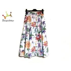 ダイアグラム ロングスカート サイズ36 S レディース 白×グリーン×マルチ 花柄   スペシャル特価 20191007