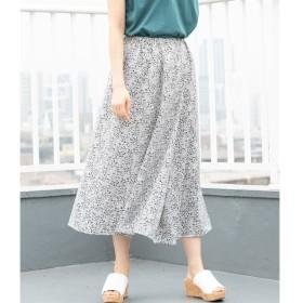 【ビス/ViS】 フラワープリントアシンメトリータックロングスカート