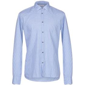 《期間限定セール開催中!》AGLINI メンズ シャツ ブルー 41 コットン 62% / 麻 38%