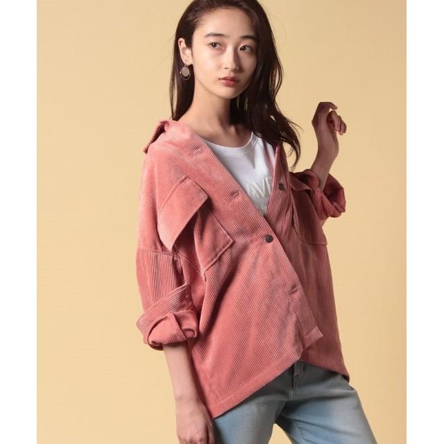 ルーニィ コーデュロイシャツジャケット レディース ピンク 38 【LOUNIE】