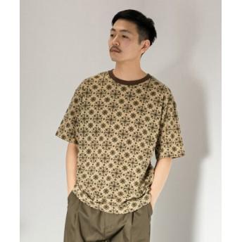 SENSE OF PLACE(センスオブプレイス) トップス Tシャツ・カットソー レトロパターンTシャツ(5分袖)