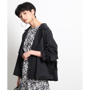 ロペ ショート丈ボリュームトレンチコート レディース ブラック(01) 38 【ROPE'】