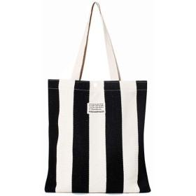 Venenos 女性用ミニマリストストライプポータブルキャンバスバッグ (Color : Black)