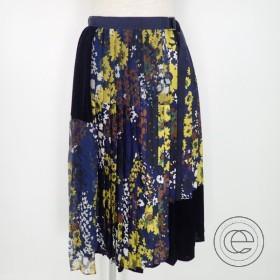 18年 sacaiサカイ 18-03956 Floral Print Skirt フローラルプリントスカート/ベロア シフォンプリーツ切替ラップスカート1  レディース