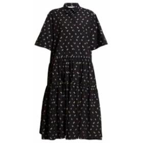 セシル バンセン Cecilie Bahnsen レディース ワンピース ワンピース・ドレス Primrose tiered floral-print poplin shirtdress black