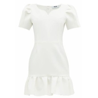 エムエスジーエム MSGM レディース ワンピース ワンピース・ドレス Sweetheart-neckline crepe mini dress white