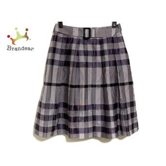 バーバリーロンドン スカート サイズ36 M レディース 美品 グレー×パープル×黒 チェック柄 新着 20190725