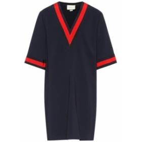 グッチ Gucci レディース ワンピース ワンピース・ドレス Stretch-cady V-neck tunic dress navy