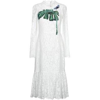 《セール開催中》DOLCE & GABBANA レディース 7分丈ワンピース・ドレス ホワイト 40 コットン 46% / レーヨン 43% / ナイロン 11% / ポリエステル / ガラス