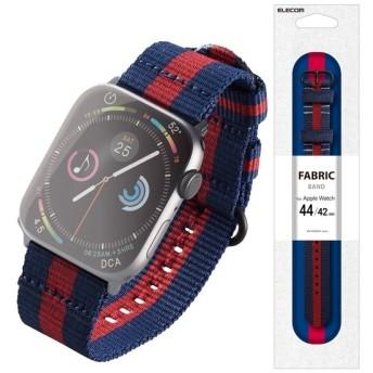 ELECOM AW-44BDNATSRG レガッタストライプ(ネイビー×レッド) [アップルウォッチ バンド NATOベルト 44/42mm (Apple Watch series 1/2/3/4)] ケース・カバー