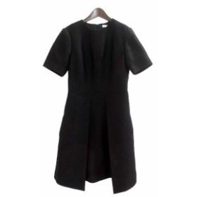 【中古】エポカ EPOCA ワンピース 42 L 黒 ブラック ウール混 半袖 ひざ丈 無地 シンプル レディース