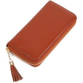 スエード レザー の 多機能 長財布 ラウンドファスナー レディース カード 大容量 無地 シンプル (ブラウン)