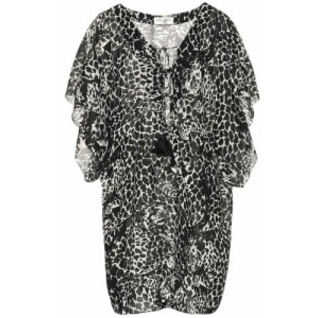 イヴ サンローラン Saint Laurent レディース ワンピース ワンピース・ドレス Printed crepe minidress Noir Off White
