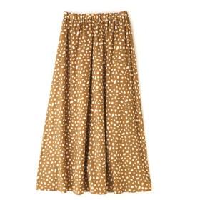 【公式/NATURAL BEAUTY BASIC】[洗える]アニマルドットスカート/女性/ブルースカート/ベージュ×オフ/サイズ:M/(表生地)ポリエステル 100%(裏生地)ポリエステル 100%