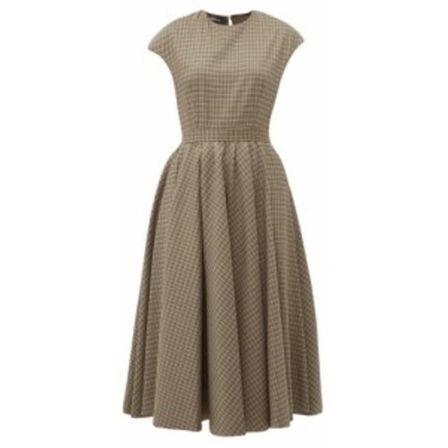 ロシャス Rochas レディース ワンピース ワンピース・ドレス Full-skirt checked wool-blend midi dress brown