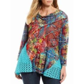 カレッサ Calessa レディース チュニック トップス Plus Size Modern Foulard Print Drape Neck Long Sleeve Tunic Fuchsia Multi