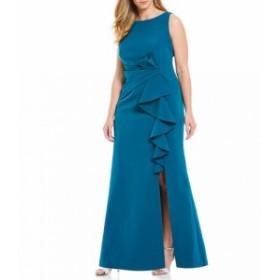 エリザジェイ Eliza J レディース パーティードレス ワンピース・ドレス Plus Size Sleeveless Side Tuck Ruffle Front Slit Gown Teal