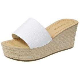[楽ファッション] ウェッジソールサンダル サンダル オープントゥシューズ ウェッジ ミュール ヒール7.5cm レディース 靴 シューズ 美脚 身長アップ 痩せ 可愛い コンフォート 歩きやすい サボ アウトドア ビーチ 海 脱ぎやすい (36(サイズ36=23.0cm), ホワイト)