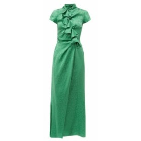 サローニ Saloni レディース ワンピース ワンピース・ドレス Kelly foliage-jacquard silk-satin maxi dress green