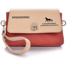 Aosnow ハンドバッグ クラッチバッグ 斜めがけ 鞄 ショルダーバッグ キャンバス 携帯 めがね 財布などの小物収納 お出かけ (レッド)