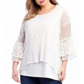 カレッサ Calessa レディース チュニック トップス Plus Size Lace Bell Sleeve Tunic White