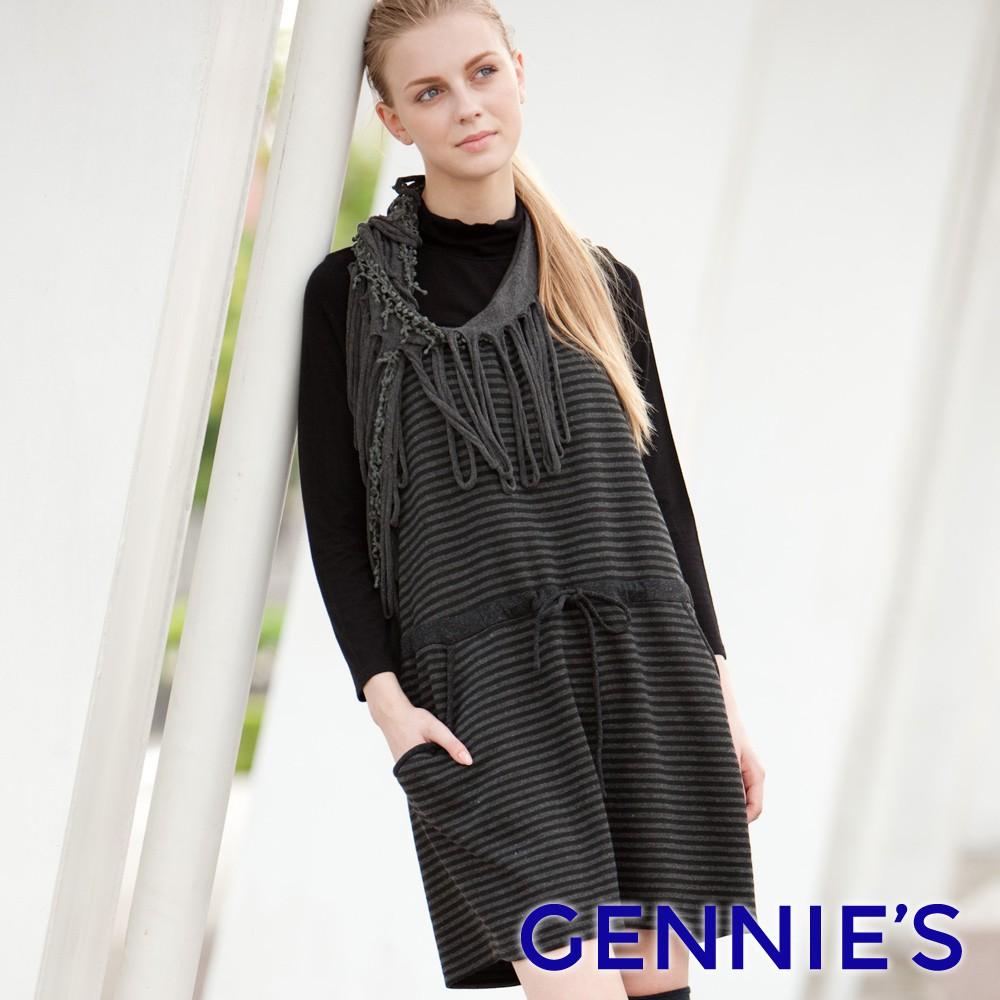 Gennie's奇妮-冬戀氛圍條紋針織背心洋裝(黑灰條紋C2Y05)