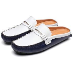 [URNICE] オフィスサンダル ブルー スリッポン 革 通気性 25.5CM 牛革 メンズサンダル 軽量 ブルー 快適な履き心地 蒸れない ローファー