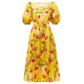 ノア ド ボルゴ Borgo De Nor レディース ワンピース ワンピース・ドレス Corin lip & floral-print cotton-poplin midi dress yellow