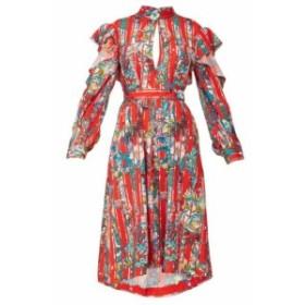 ゴールデン グース Golden Goose レディース ワンピース ワンピース・ドレス Chieko ruffled floral-print crepe de Chine dress red