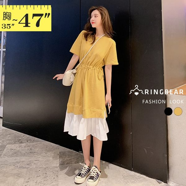 連身裙--浪漫甜美圓領腰部抽繩荷葉拼接裙擺短袖洋裝(黑.黃L-3L)-D576眼圈熊中大尺碼◎