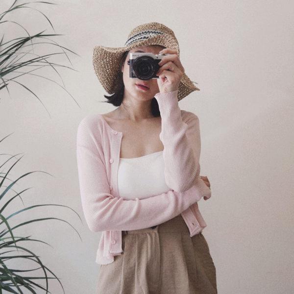 TMH-冰淇淋短版針織外套-櫻花粉