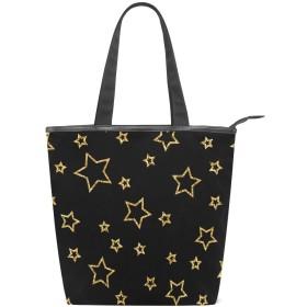 SoreSore(ソレソレ)トートバッグ 大容量 レディース メンズ キャンパス 星 星柄 黒 ブラック バッグ ハンドバッグ A4対応 ファスナー 大きめ 通学 旅行 帆布 プレゼント