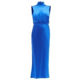 サローニ Saloni レディース ワンピース ワンピース・ドレス Fleur high-neck silk-satin midi dress blue