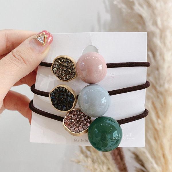 典雅糖果色鑲鑽髮圈 髮圈 髮束 髮繩 髮飾 頭飾
