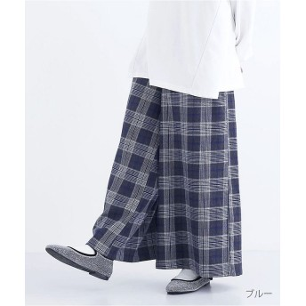 メルロー グラフチェックワイドパンツ1834 レディース ブルー FREE 【merlot】