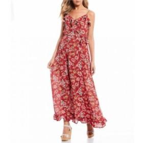 シティヴァイブ City Vibe レディース ワンピース ワンピース・ドレス Spaghetti Strap Ruffle Floral Maxi Dress Rust/Ivory