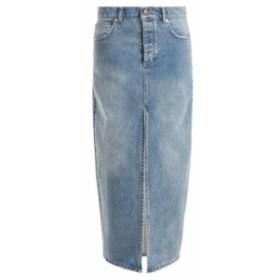 レイ Raey レディース ロング・マキシ丈スカート スカート Slit-front denim maxi pencil skirt light blue