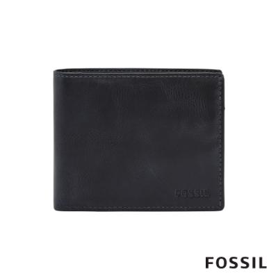 FOSSIL 母親節優惠 DERRICK 真皮證件格零錢袋RFID男夾-海軍藍 ML3687406