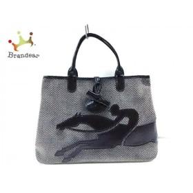 ロンシャン LONGCHAMP トートバッグ 黒×白×ベージュ ベロア×エナメル(レザー)  値下げ 20190903